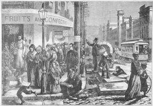 """Street scene in Philadelphia."" New York Public Library Digital Collections."